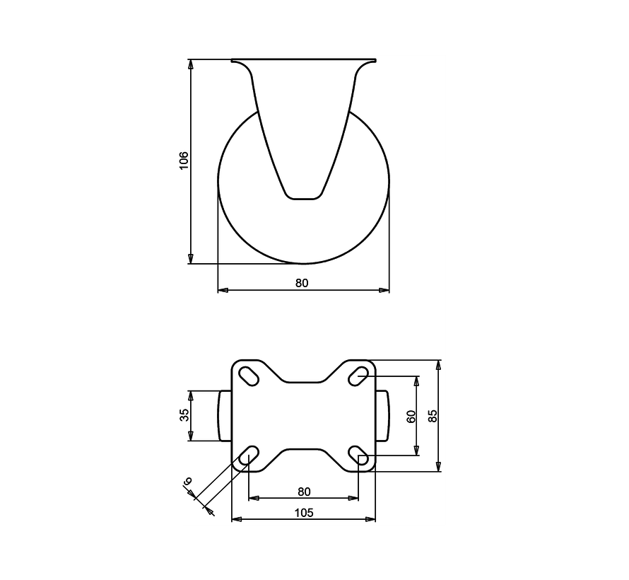 standard Fixed  castor + solid polypropylene wheel Ø80 x W35mm for  100kg Prod ID: 67019