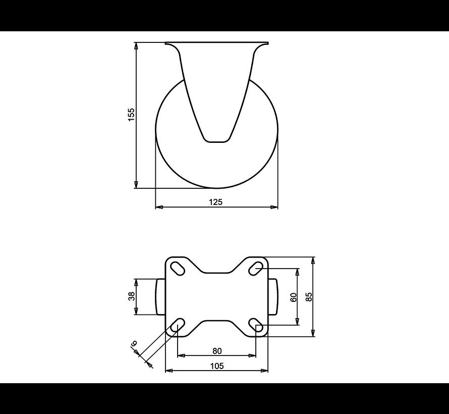 standard Fixed  castor + solid polypropylene wheel Ø125 x W38mm for  150kg Prod ID: 60815