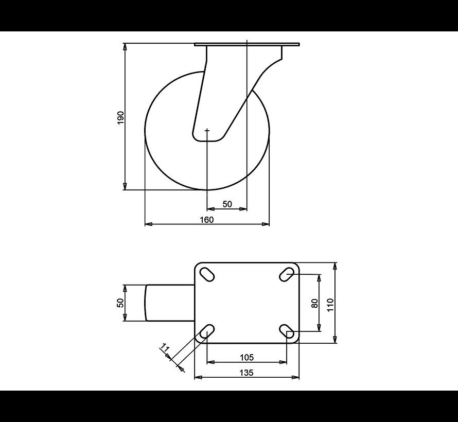 standard Swivel castor + injection-moulded polyurethane  Ø160 x W50mm for  300kg Prod ID: 40523