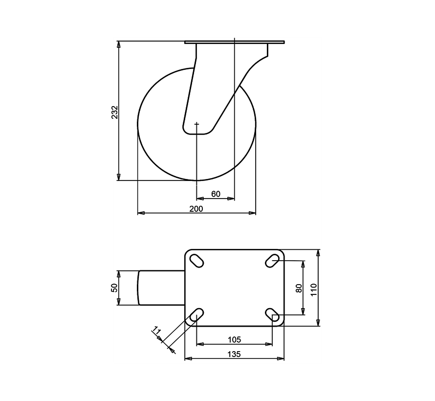 standard Swivel castor + injection-moulded polyurethane  Ø200 x W50mm for  300kg Prod ID: 40525