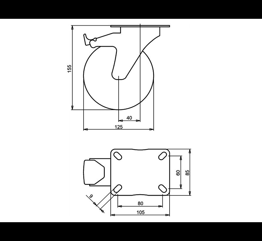 standard Swivel castor with brake + elastic rubber tyre Ø125 x W35mm for  200kg Prod ID: 39973