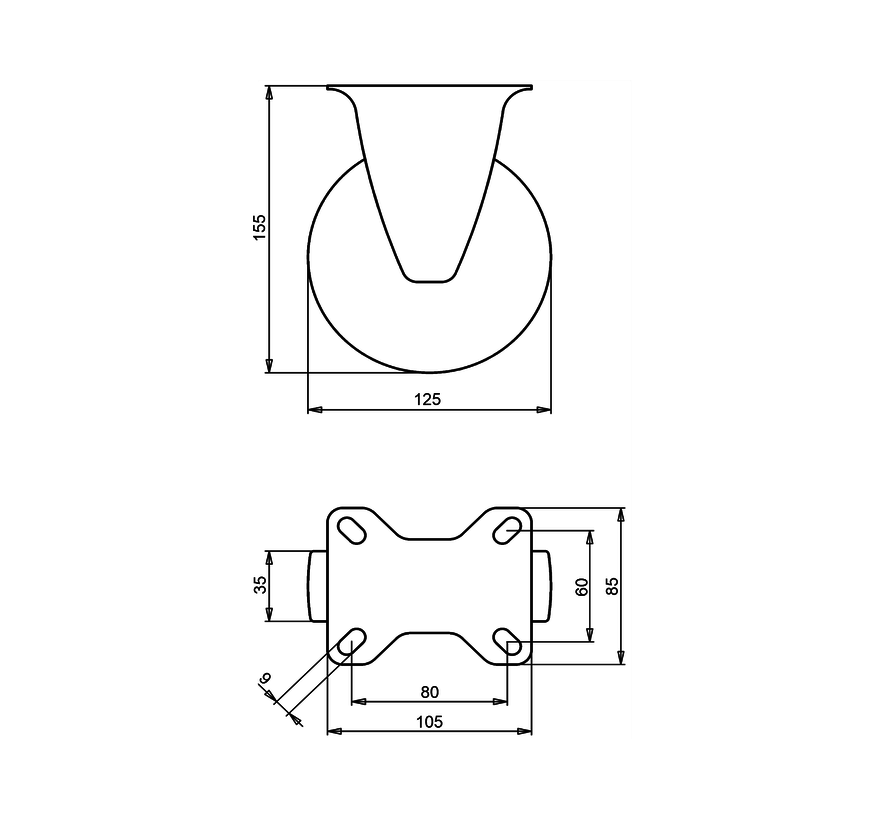 standard Fixed  castor + elastic rubber tyre Ø125 x W35mm for  200kg Prod ID: 39893