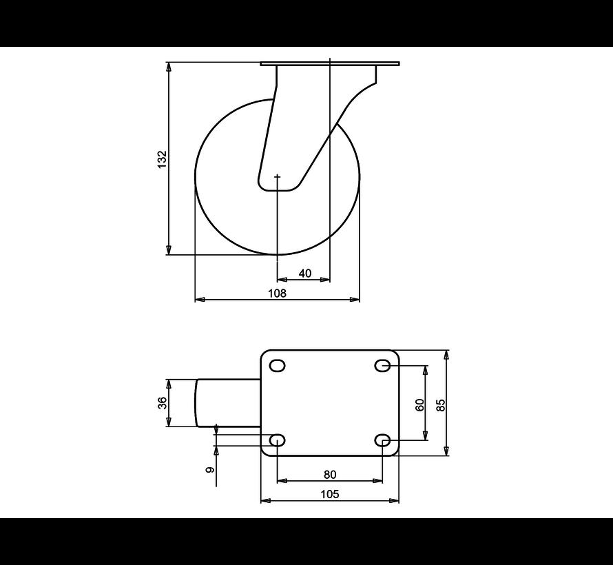 standard Swivel castor + solid polypropylene wheel Ø108 x W36mm for  150kg Prod ID: 91621