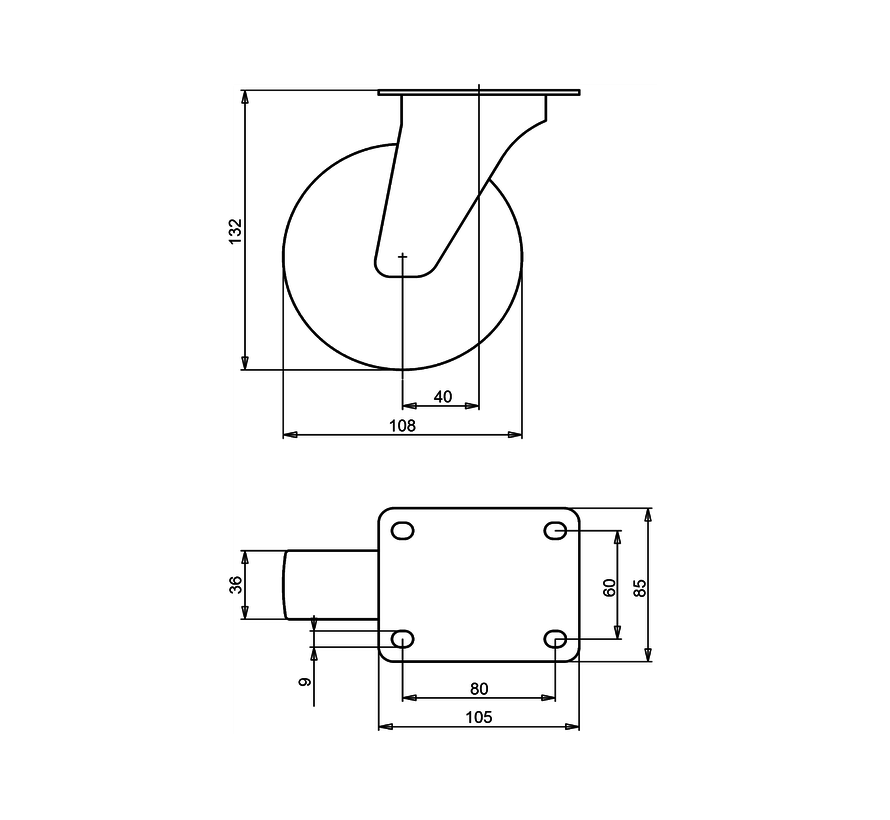 standard Swivel castor + solid polyamide wheel Ø108 x W36mm for  200kg Prod ID: 91799