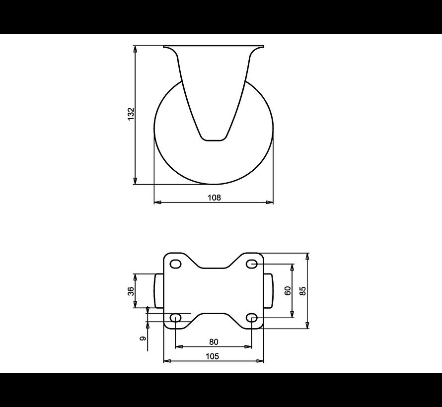 standard Fixed  castor + solid polypropylene wheel Ø108 x W36mm for  150kg Prod ID: 31813