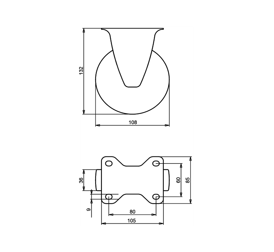 standard Fixed  castor + solid polypropylene wheel Ø108 x W36mm for  150kg Prod ID: 91623