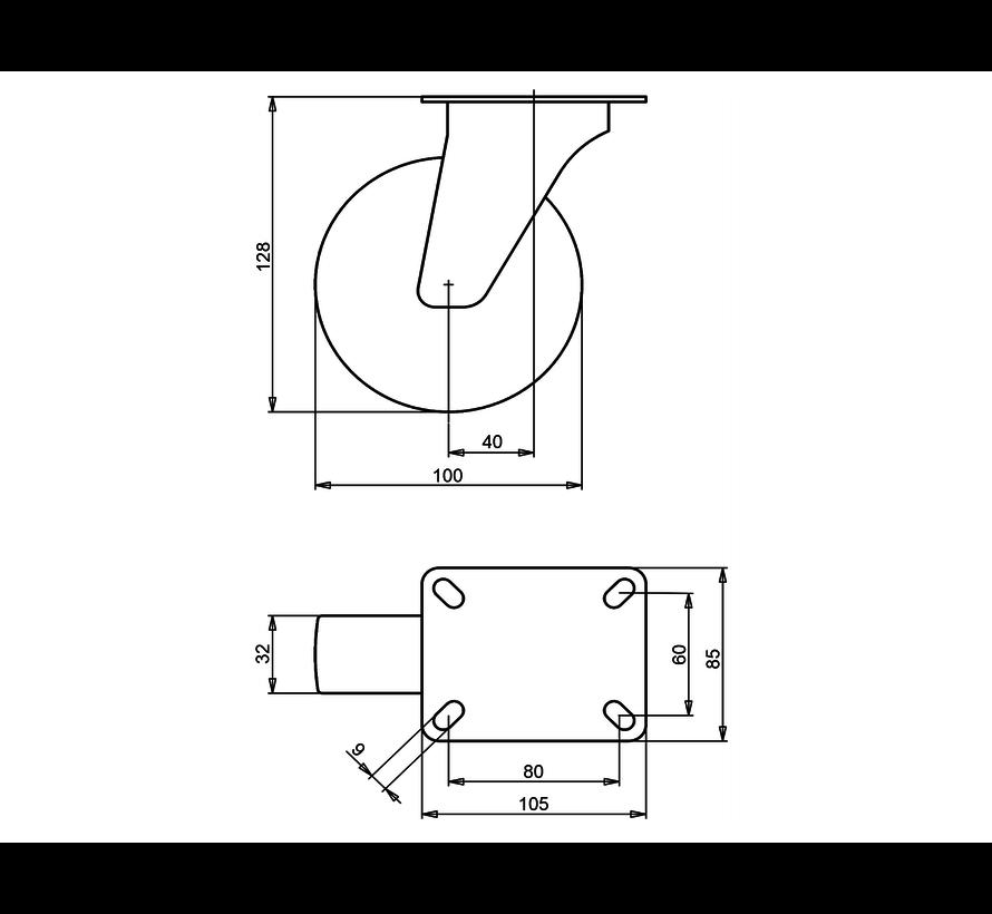 standard Swivel castor + injection-moulded polyurethane tread Ø100 x W32mm for  150kg Prod ID: 41114