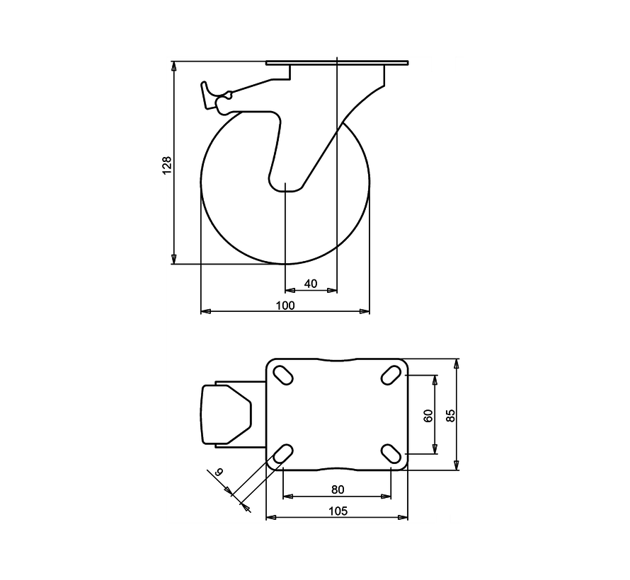standard Swivel castor with brake + injection-moulded polyurethane tread Ø100 x W32mm for  150kg Prod ID: 41135