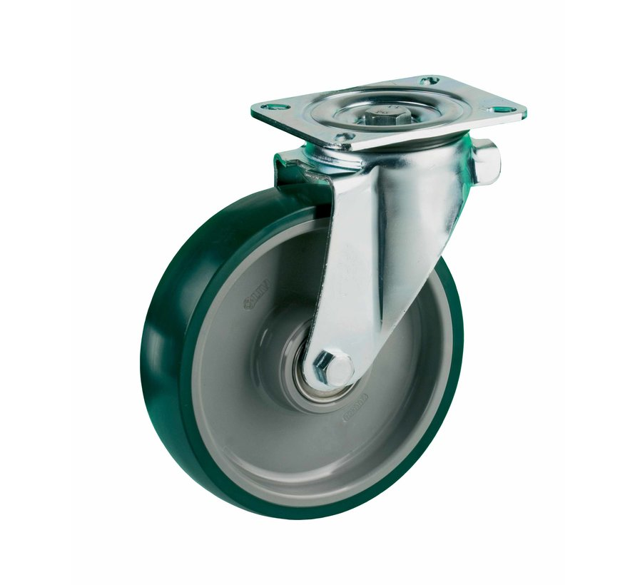 heavy duty Swivel castor + injection-moulded polyurethane tread Ø160 x W50mm for  400kg Prod ID: 42474