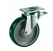 LIV SYSTEMS Swivel castor with brake + injection-moulded polyurethane tread Ø200 x W50mm for 500kg