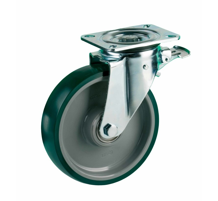 heavy duty Swivel castor with brake + injection-moulded polyurethane tread Ø200 x W50mm for  500kg Prod ID: 42605