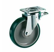 LIV SYSTEMS vrtljivo kolo z zavoro + brizgana poliuretanska obloga Ø200 x W50mm Za 500kg