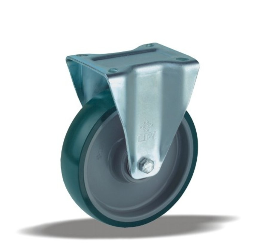 heavy duty Fixed  castor + injection-moulded polyurethane tread Ø200 x W50mm for  500kg Prod ID: 42634