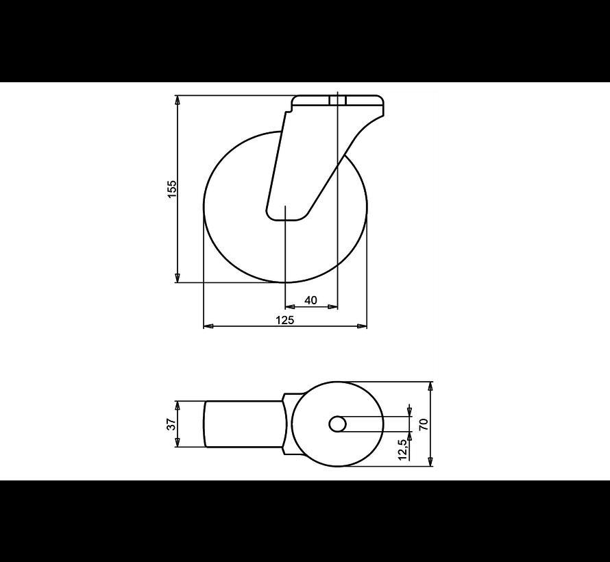 standard Swivel transport castor + black rubber tyre Ø125 x W37mm for  130kg Prod ID: 34024