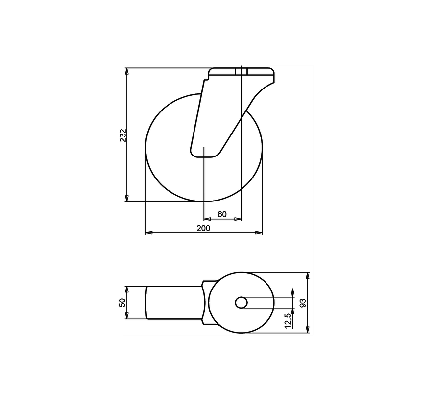 standardno vrtljivo transportno kolo + črna guma Ø200 x W50mm Za  230kg Prod ID: 34055
