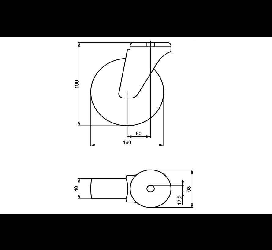 standard Swivel transport castor + black rubber tyre Ø160 x W40mm for  180kg Prod ID: 34163