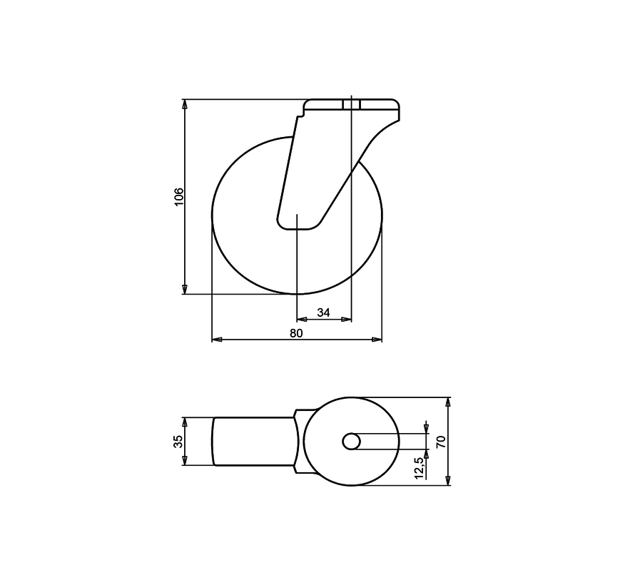standard Swivel castor + solid polypropylene wheel Ø80 x W35mm for  100kg Prod ID: 34323
