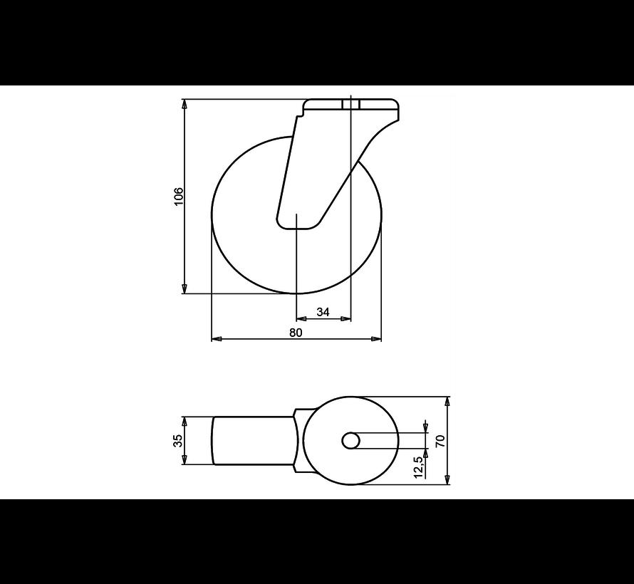 standard Swivel castor + solid polypropylene wheel Ø80 x W35mm for  100kg Prod ID: 34333