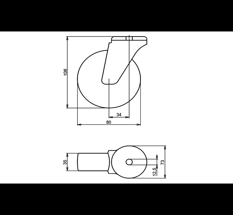 nerjaveče jeklo vrtljivo kolo  + trdno poliamidno kolo Ø80 x W35mm Za  150kg Prod ID: 41314