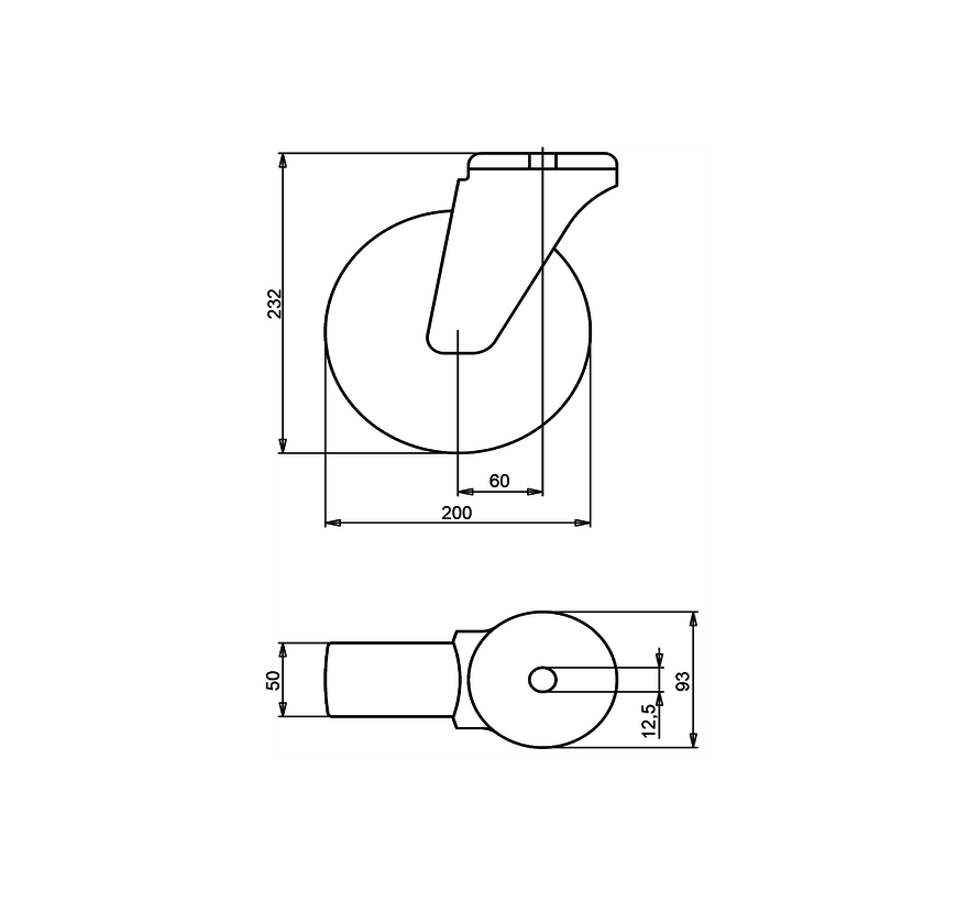 nerjaveče jeklo vrtljivo kolo  + trdno poliamidno kolo Ø200 x W50mm Za  300kg Prod ID: 41684