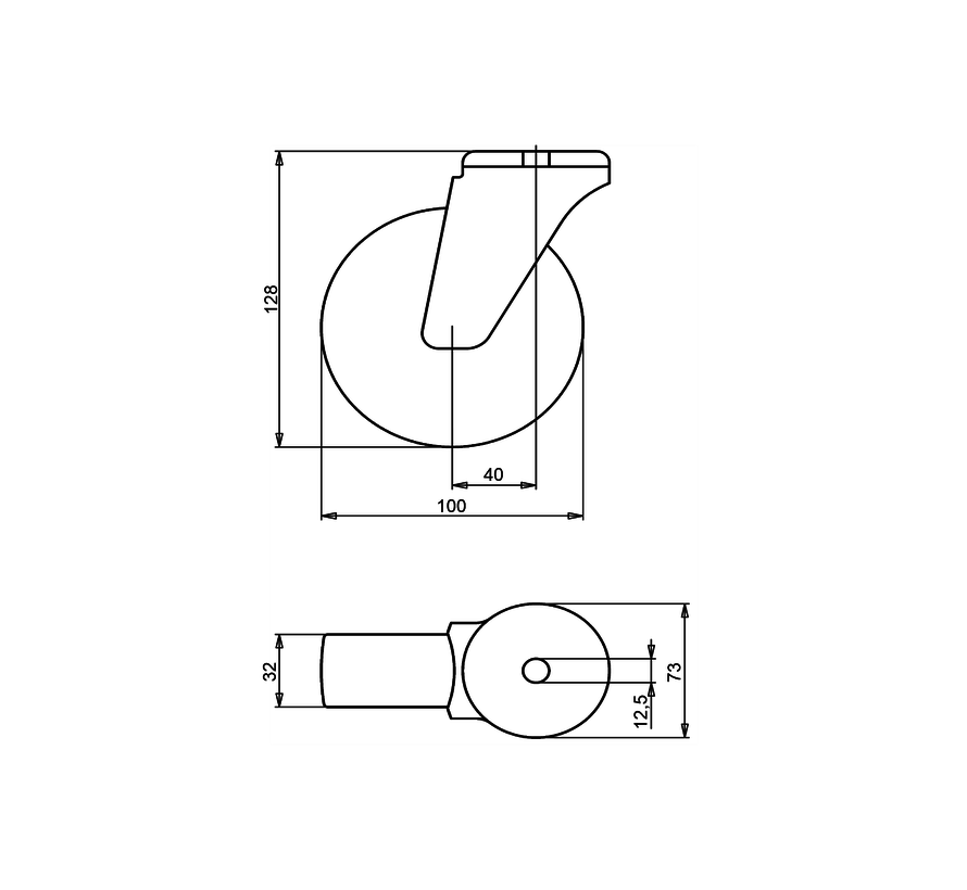 nerjaveče jeklo vrtljivo kolo  + brizgana poliuretanska obloga  Ø100 x W32mm Za  150kg Prod ID: 41394