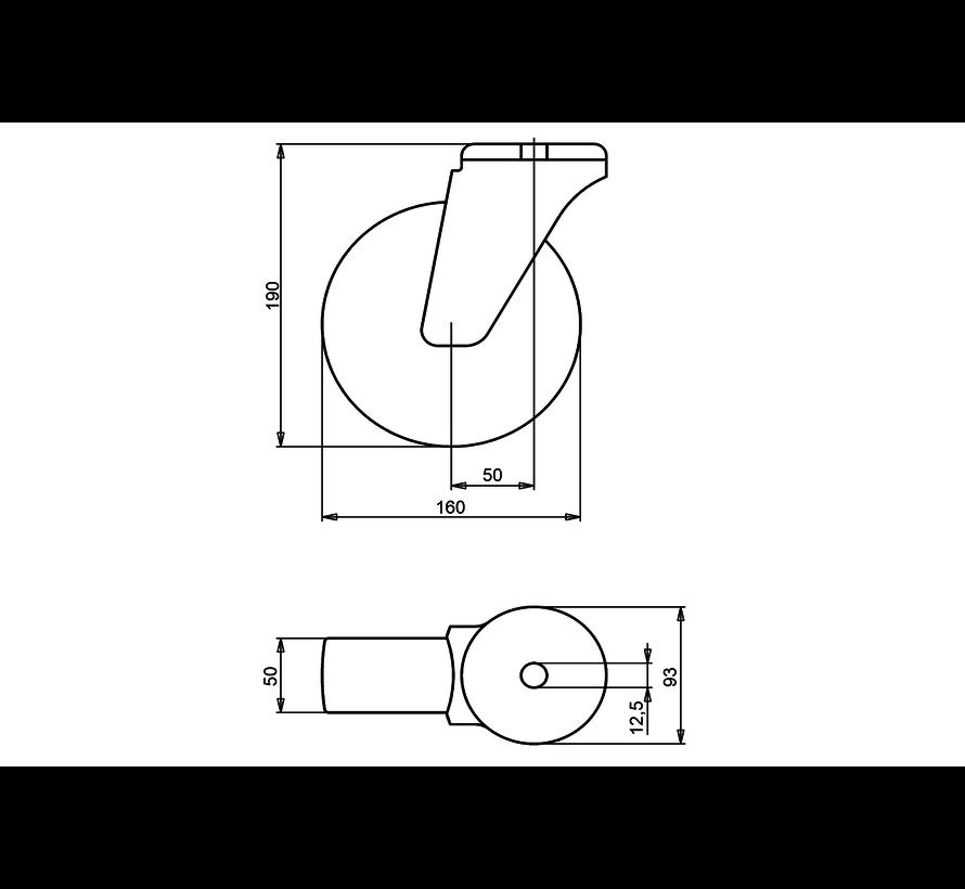 nerjaveče jeklo vrtljivo kolo  + elastična gumi obloga  Ø160 x W50mm Za  300kg Prod ID: 41813