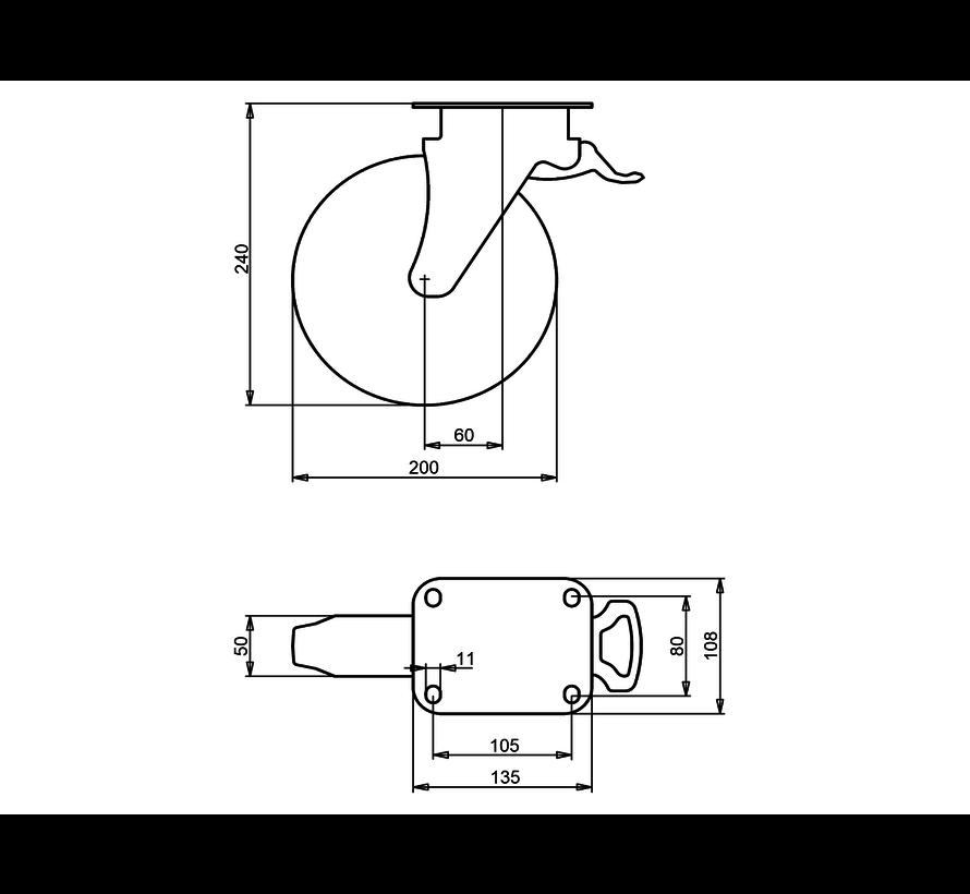 waste bin castors Swivel castor with brake + black rubber tyre Ø200 x W50mm for  250kg Prod ID: 44793