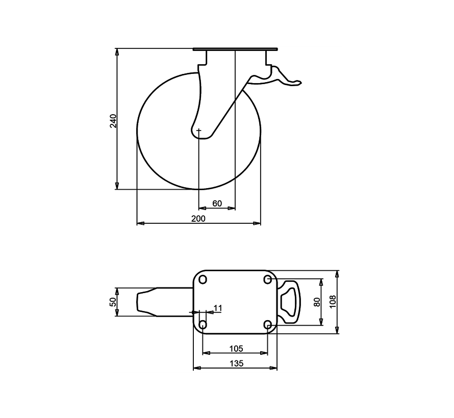 kolesa za komunalne zabojnike vrtljivo kolo z zavoro + črna guma Ø200 x W50mm Za  250kg Prod ID: 44345