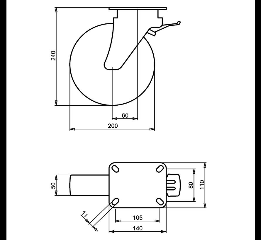 za težje delovne pogoje vrtljivo kolo z zavoro + trdno poliamidno kolo Ø200 x W50mm Za  500kg Prod ID: 42574
