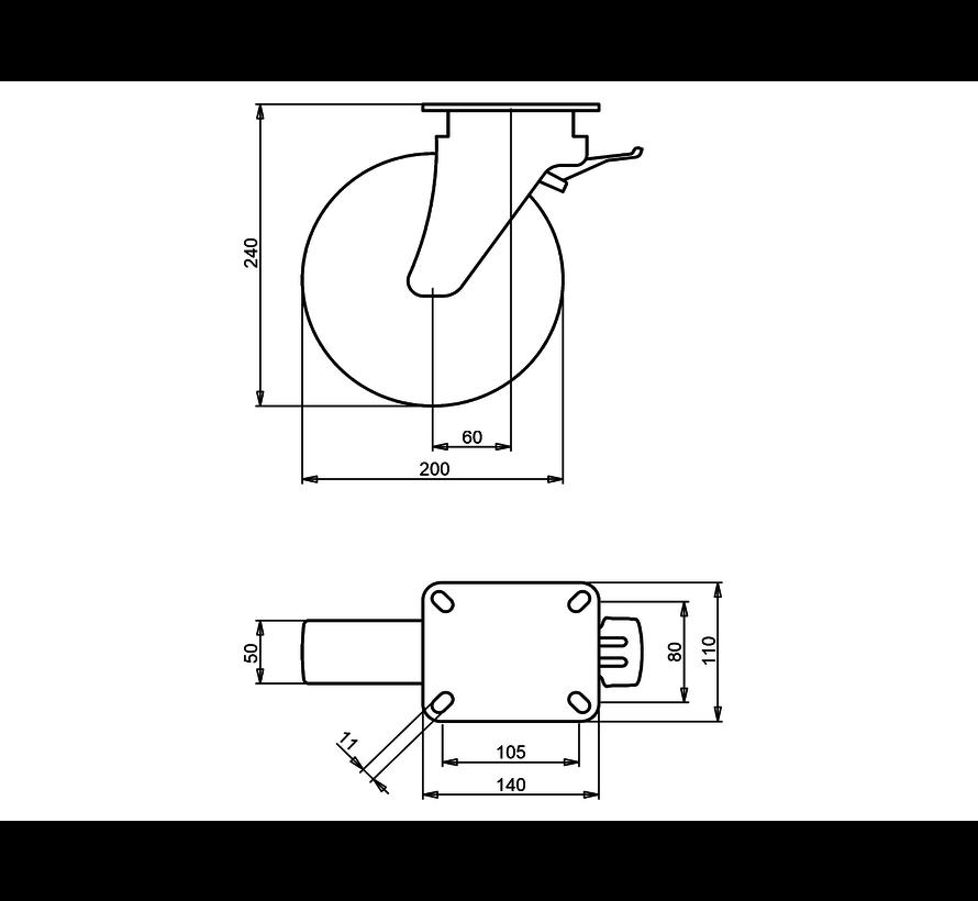 heavy duty Swivel castor with brake + injection-moulded polyurethane tread Ø200 x W50mm for  500kg Prod ID: 42613