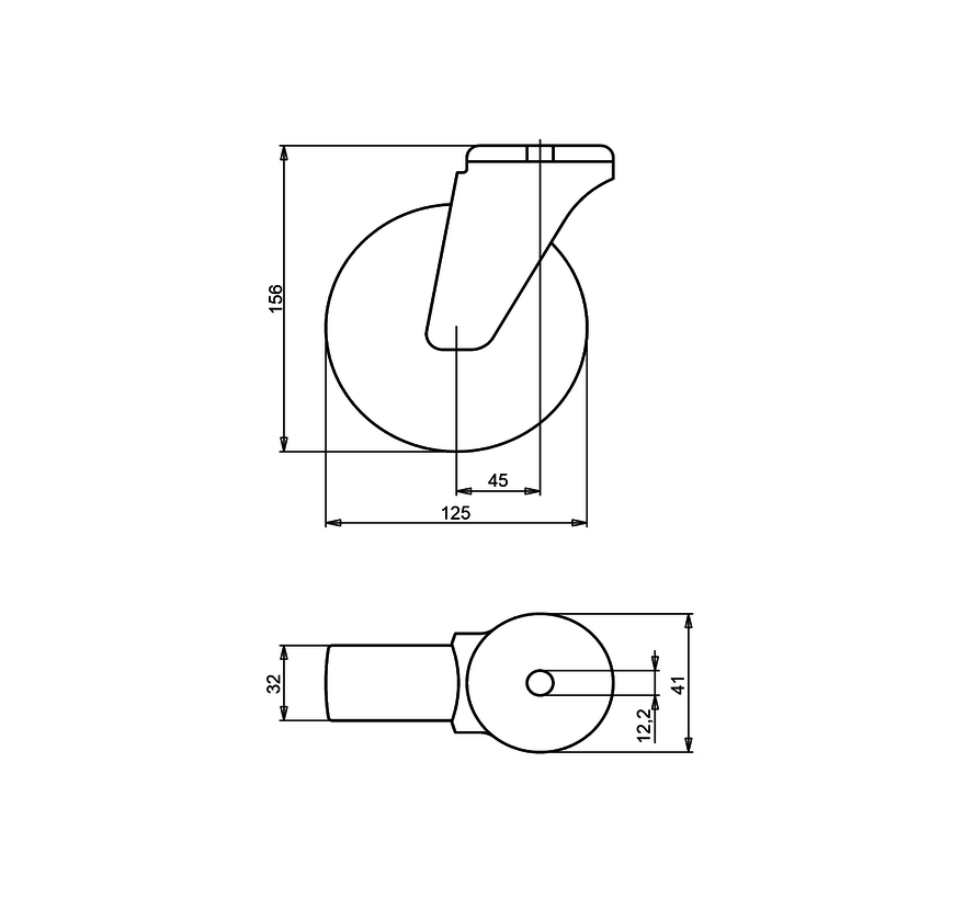 institutianal Swivel castor + polyethylene tread Ø125 x W32mm for  100kg Prod ID: 44833