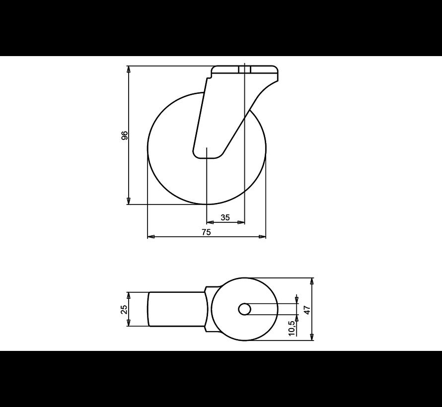 furniture Swivel castor + polyethylene tread Ø75 x W25mm for  75kg Prod ID: 39174