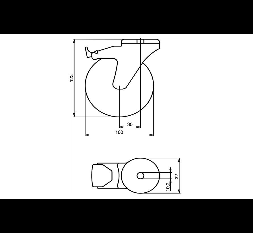 institutianal Swivel castor with brake + polyethylene tread Ø100 x W24mm for  70kg Prod ID: 44836