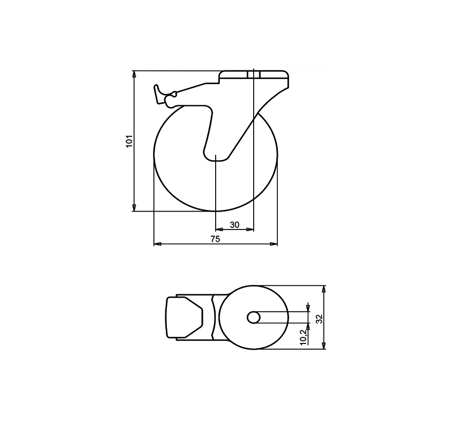 institutianal Swivel castor with brake + polyethylene tread Ø75 x W24mm for  60kg Prod ID: 44835
