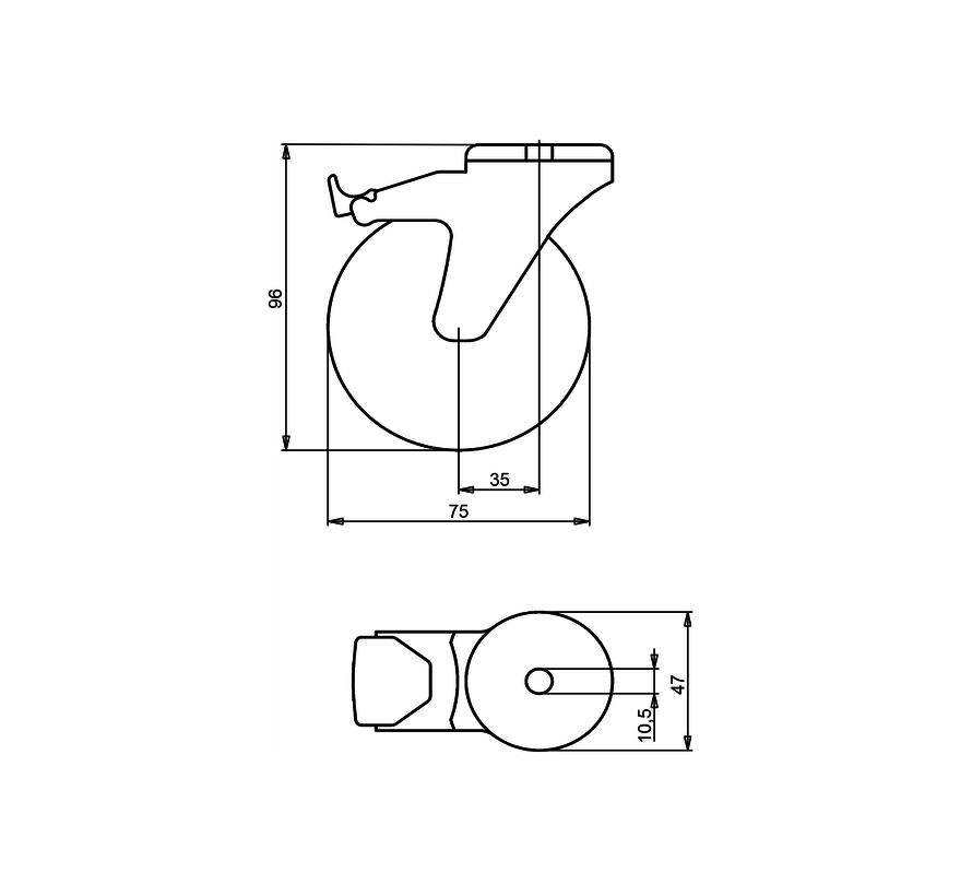 furniture Swivel castor with brake + rubber tyre Ø75 x W25mm for  50kg Prod ID: 39175