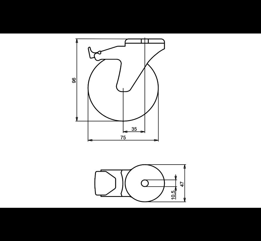 furniture Swivel castor with brake + polyethylene tread Ø75 x W25mm for  75kg Prod ID: 39183