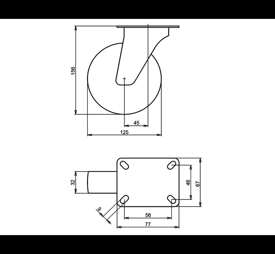 institutianal Swivel castor + polyethylene tread Ø125 x W32mm for  100kg Prod ID: 44818