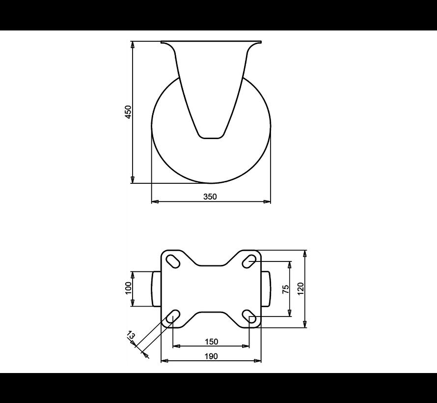 za neravna tla  fiksno kolo + črna guma Ø350 x W100mm Za  300kg Prod ID: 22827