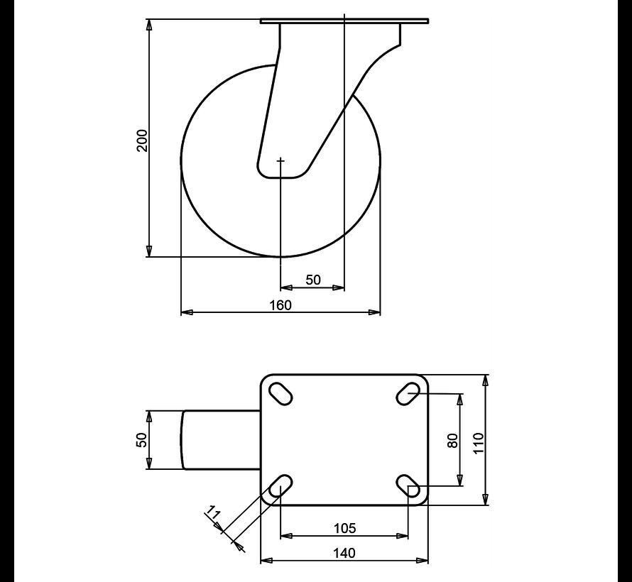 heavy duty Swivel castor + solid polyamide wheel Ø160 x W50mm for  400kg Prod ID: 31774