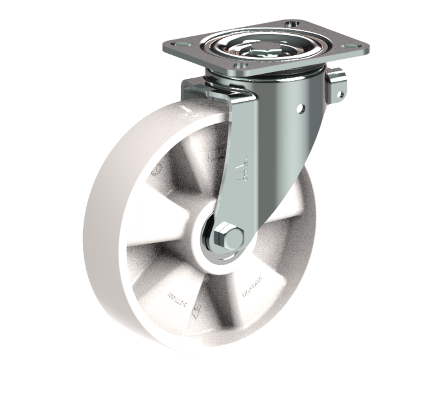 heavy duty Swivel castor + solid polyamide wheel Ø200 x W50mm for  500kg Prod ID: 31793