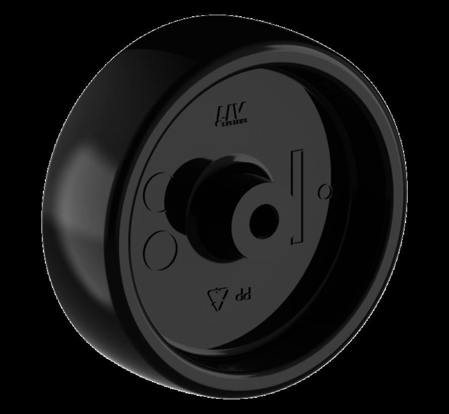 furniture wheel + solid polypropylene wheel Ø75 x W25mm for  75kg Prod ID: 33954