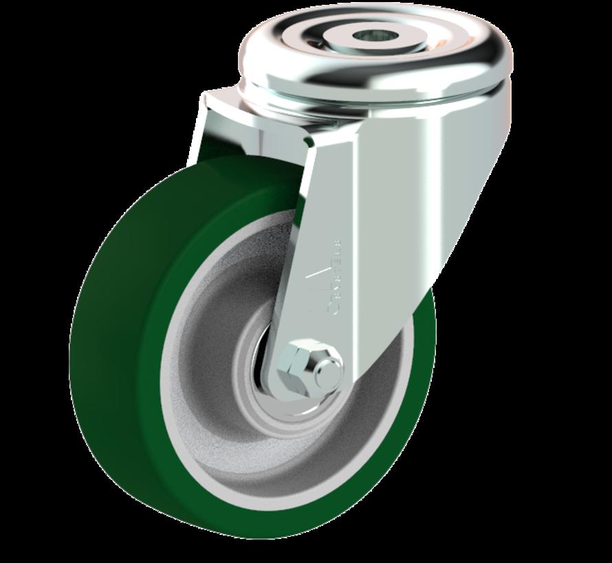 standard Swivel castor + injection-moulded polyurethane tread Ø100 x W32mm for  150kg Prod ID: 41154