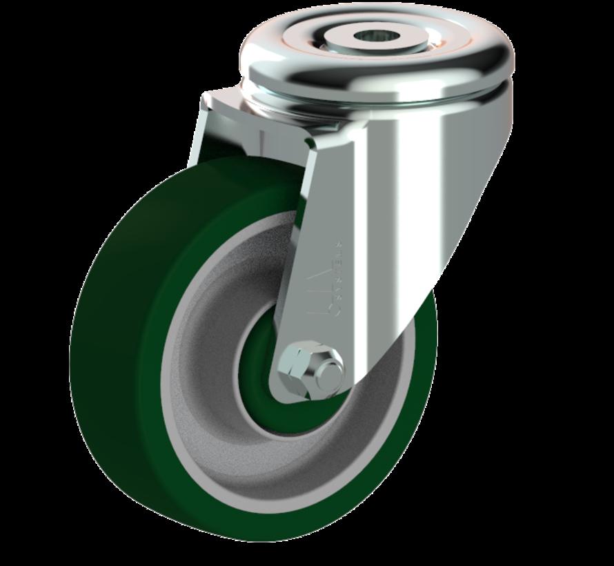standardno vrtljivo kolo  + brizgana poliuretanska obloga  Ø100 x W32mm Za  150kg Prod ID: 41155