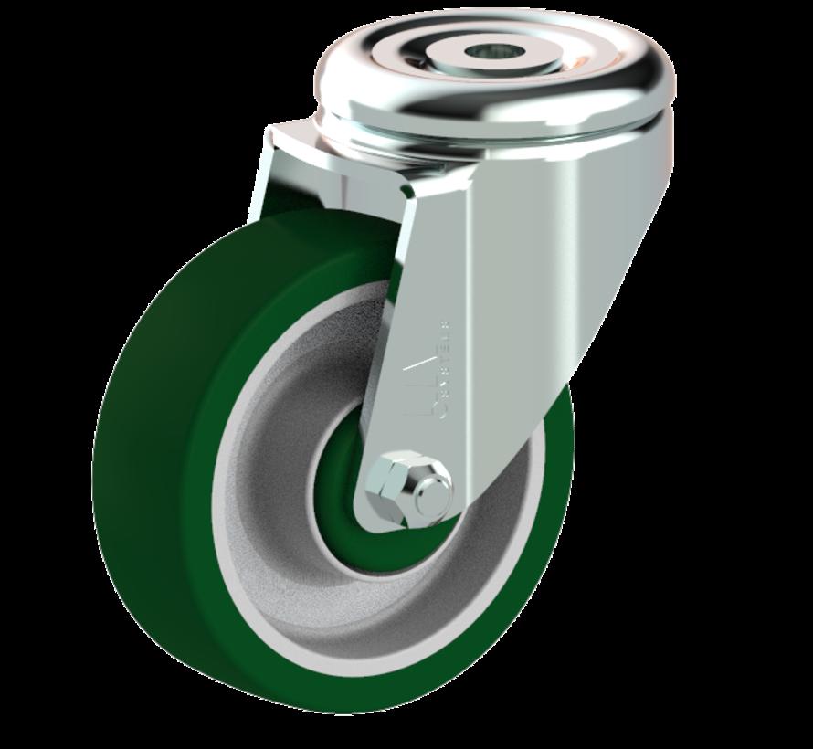 standard Swivel castor + injection-moulded polyurethane tread Ø100 x W32mm for  150kg Prod ID: 41163