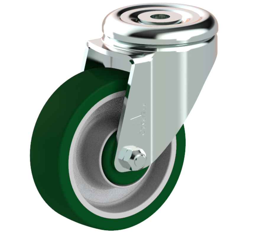 standardno vrtljivo kolo  + brizgana poliuretanska obloga  Ø100 x W32mm Za  150kg Prod ID: 41163