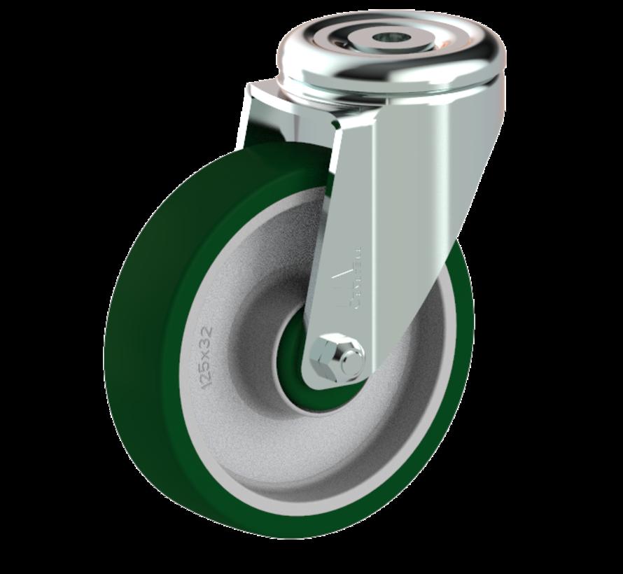 standard Swivel castor + injection-moulded polyurethane tread Ø125 x W32mm for  200kg Prod ID: 41165