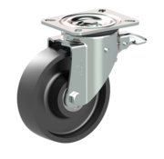 LIV SYSTEMS Swivel castor with brake + solid cast iron wheel Ø160 x W50mm for 600kg