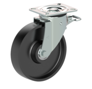LIV SYSTEMS Swivel castor with brake + solid cast iron wheel Ø200 x W50mm for 800kg