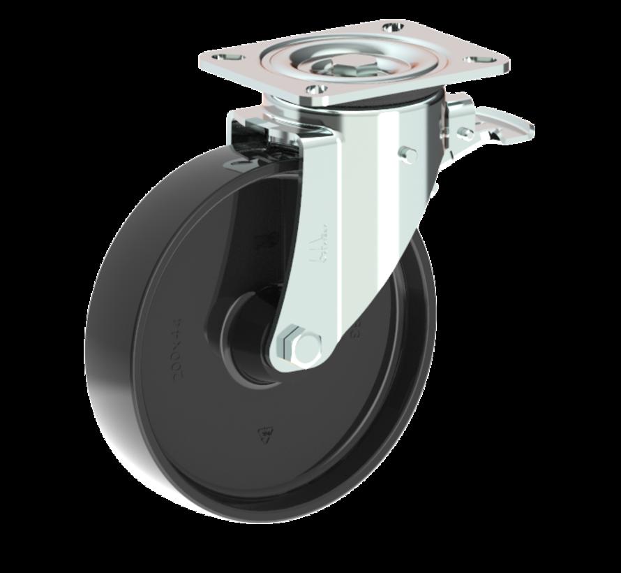 za težje delovne pogoje vrtljivo kolo z zavoro + trdno poliamidno kolo Ø200 x W50mm Za  500kg Prod ID: 42575