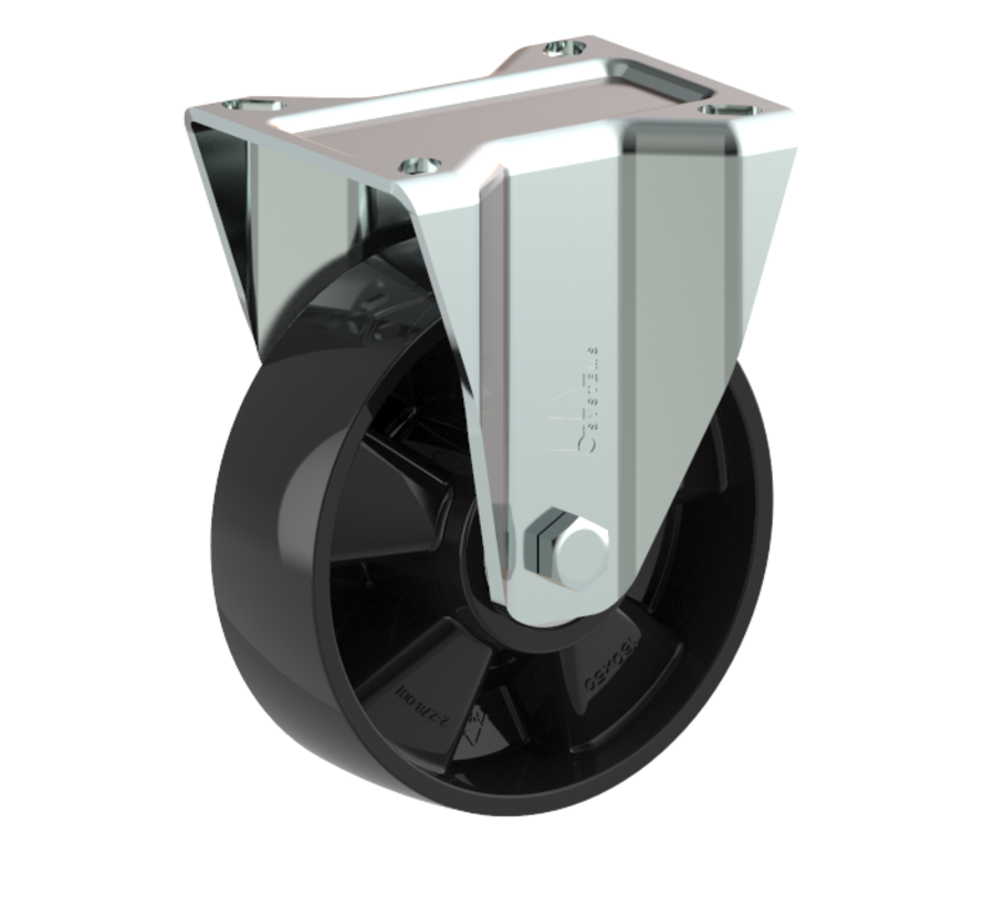 za težje delovne pogoje fiksno kolo + trdno poliamidno kolo Ø160 x W50mm Za  400kg Prod ID: 54622